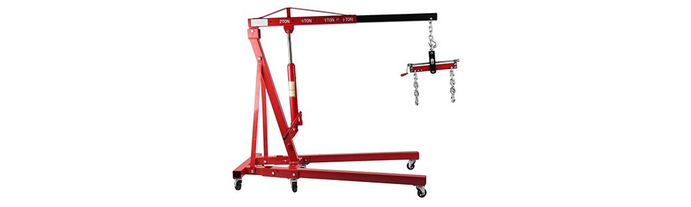 mymerlove 2T Folding Engine Crane with Balancer Workshop Crane Mobile Car Lifting Tool