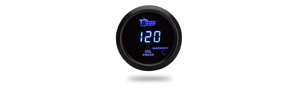 Docooler Digital Oil Pressure Meter Gauge with Sensor for Auto Car 52mm 2in LCD 0~120PSI Warning Light Black